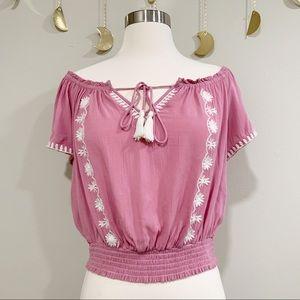 Pacsun LA Hearts Pink Off The Shoulder Crop Top. S
